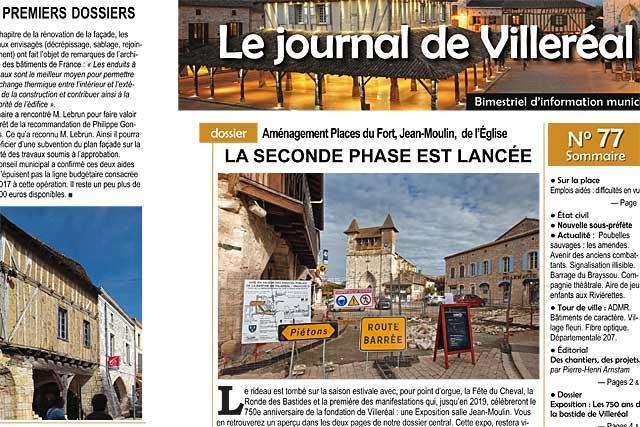 A la Une du Journal de Villeréal, les métamorphioses de la bastide...|Photo © jean-Paul Epinette - icimedia@free.fr