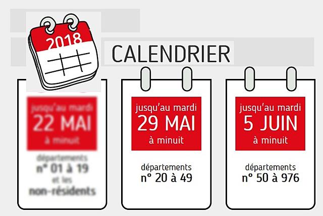 Les dates limites de déclaration varient selon les départements classés en 3 zones... Illustration DR