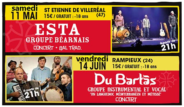 Samedi soir à St-Etienne de Villeréal, concert et bal óc avec les Béarnais de Esta...|Illustration DR