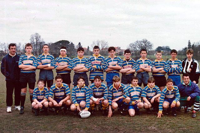 Bernard Moliérac et l'équipe où figure Thomas Mauvrit, qu'il entraînait durant la saison 95-96...|Coll. Francis Lacombe