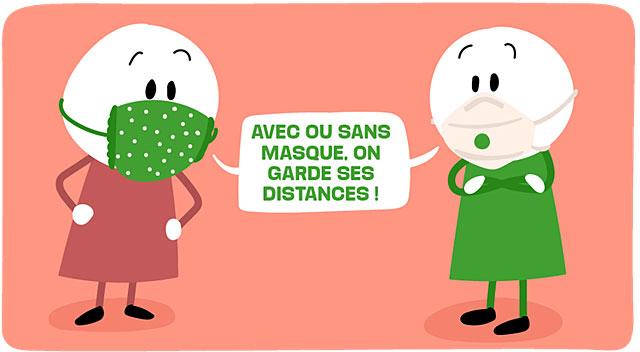 Avec ou sans masque, les gestes barrières restent nécessaires... Illustration P'tit Libé - DR
