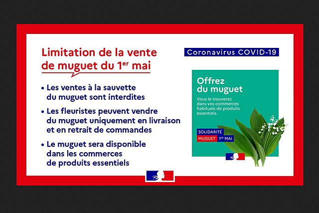 Les fleuristes pourront vendre du muguet uniquement en livraison ou en retrait de commandes... Illustration Gouvernement français
